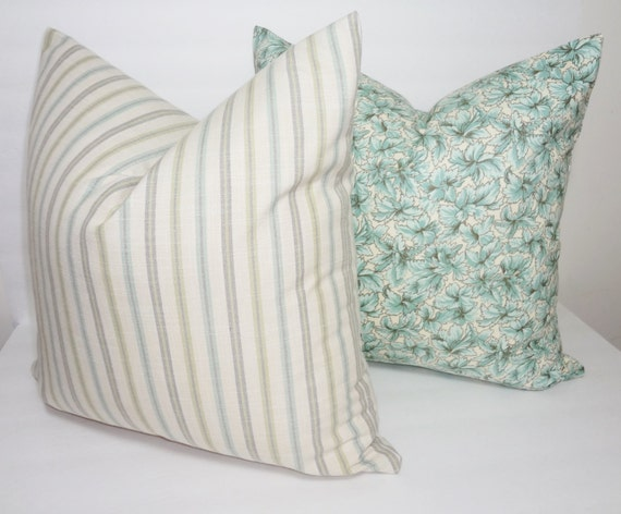 Decorative Blue & Yellow Floral Stripe Pillow Covers Blue