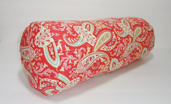 Decorative Pillow Rolls : Items similar to Red Paisley Bolster Pillow Cover Decorative Pillow Neck Roll Lumbar Pillow with ...
