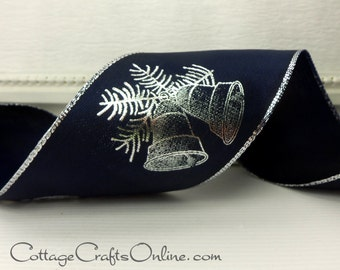 "Wired Ribbon, 2 1/2"" Navy Blue Silver Bells - THREE YARDS - Offray Lion Ribbon , ""Campane Bells"" , Christmas,  Hanukkah, Wire Edge Ribbon"