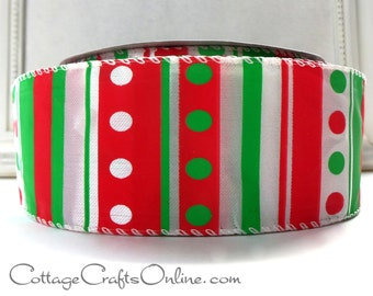 "Christmas Wired Ribbon 2 1/2"" , Red Green White Stripe Polka Dot - THREE YARDS - Offray ""Truffles"" Striped Wire Edged Ribbon"