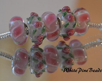 Pink and Green Murano Glass Lampwork Beads  5 PC Set    fits European  Charm Bracelets WhitePineBeads