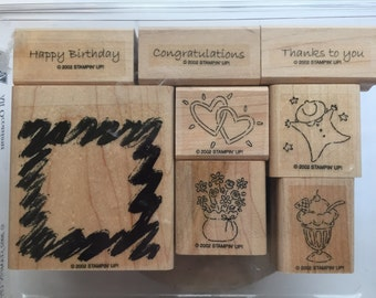 Stampin Up All Occasions Birthday, Baby Congratulations, Hearts Stamp Set Used