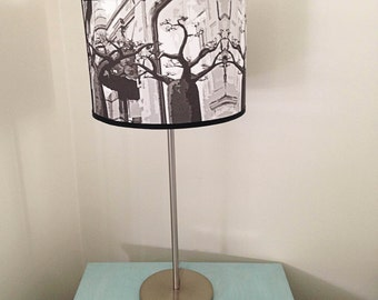 Lampshade for table lamp, drum lightshade, drum lampshade for contemporary lamp, decorative lighting, custom lampshade, gray lampshade