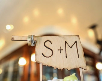 State Cake Topper - YOUR State with your Initials Carved in Wood Celebrate your Love of your Hometown Unique Wedding Cake Decor
