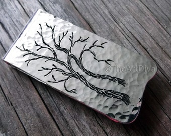 Recycled Sterling Silver Money Clip - Artisan Money Clip - Hand Drawn Money Clip - Forged Money Clip