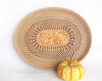 Woven basket Wicker basket Rustic table centerpiece Eco gift home decor Oval plate Easter table decor Bread basket