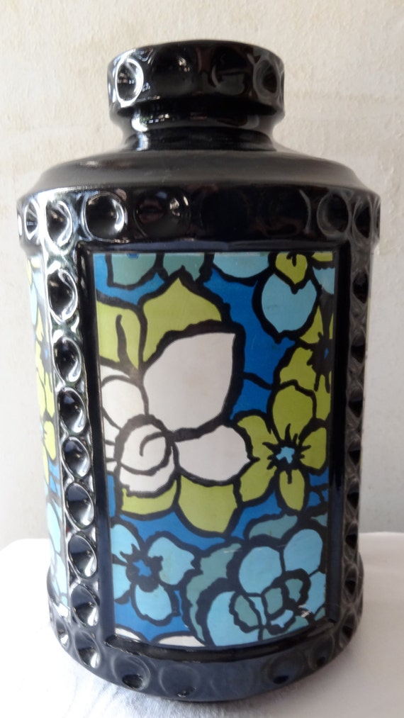 Vintage Mod Flowered Cookie Jar Navy Blue Green And White