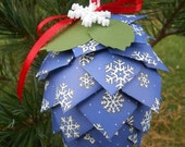 Blue Snowflake Paper Pinecone Ornament. Decoration, Christmas, Gift, Birthday, Anniversary, Wedding. Cobalt, Royal