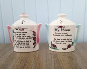 Vintage Teapot Salt and Pepper Shakers - Welcome Poem - Made in Japan Collectible - Shabby Chic