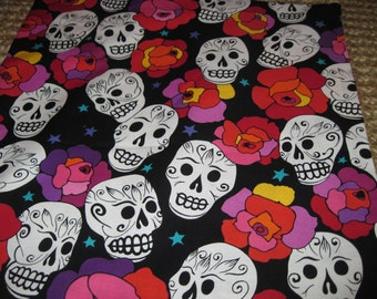 "14"" x 14"" PILLOW COVER - Day of the Dead Southwest Osteology Skeleton Skulls Float with Festive Floral Flowers on Black"