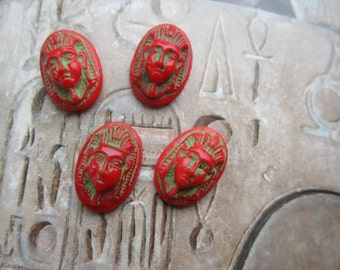 Vintage Egyptian Motif Glass Cabs Red With Green  4 Pcs.