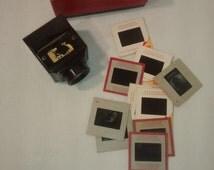 Vintage ZADIIX , Bakelite Slide Viewer , 35mm w Original Box and 10 slides