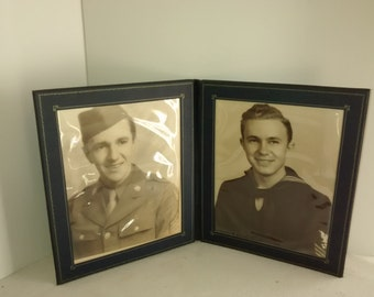 Antique Photo 1940's , Military Brothers, Naval , Air Force Photos , WWll