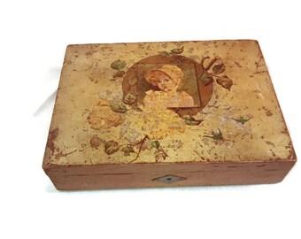 Victorian Child's Pencil Box , Inkwell , Pencil lead holder , Original Key , Lithograph