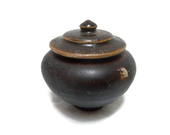 Ancient Thailand Pottery Sukohothai Lidded Spice Jar or Box Brown Glaze Rare Artifact