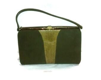 Johansen purse , suede and lizard , vintage 1960's , pristine