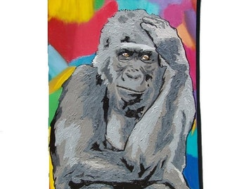 Gorilla Paw Pouch with detachable strap - From My Original Painting, The Thinker