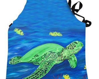 Sea Turtle Apron by Salvador Kitti -  On Sale - Support Wildlife Conservation, Read How - From My Painting, Wisdom