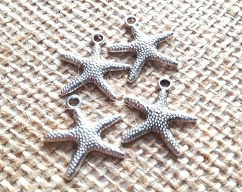 Shiny Silver Starfish Charm-4 pieces-lead free
