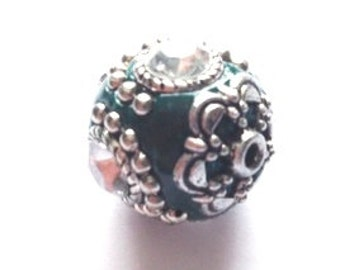 DOLLAR DEAL,  20mm Green Bead, Antique Silver, Tibetan 20mm Round Bead with Emerald Green Enamel Accent, Sale Bead, Bargain Bead, Green Bead
