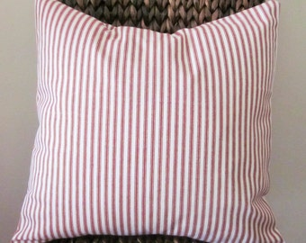 "Red Ticking Pillow Cover, Decorative Pillow,  20"", 18"", 16"" 14"", Red and Off-White"