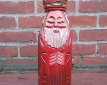 Vintage Carved Wood Bottle Holder King Of Diamonds