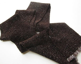 Handwoven Cocoa-Brown Chenille Scarf with a Sparkle