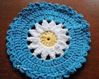 Blue and White Daisy Dish Cloth
