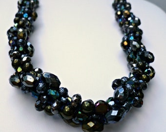 Beaded kumihimo cluster necklace - black iridescent seductive bling