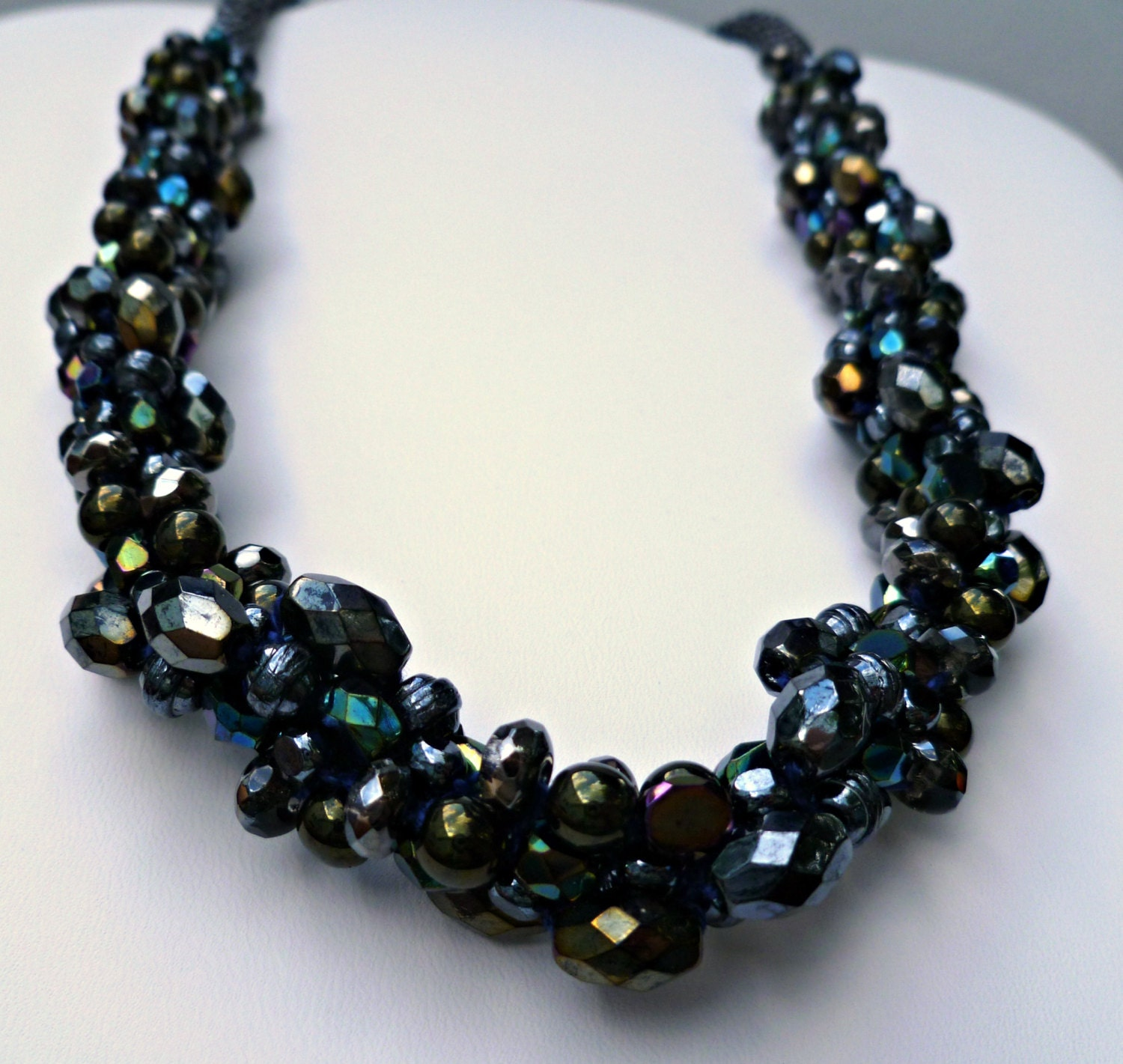 beaded kumihimo cluster necklace black iridescent seductive