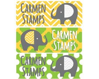 Name Labels, Gender Neutral, Daycare Labels, Waterproof Labels, School Name Labels, Baby Bottle Labels, Elephants, Girl, Boy, Yellow, Green