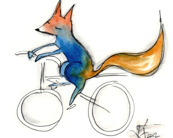 Fox on a Bike - Watercolor Fox - Ink and Pencil - Small Foxy Art - Modern and Clean