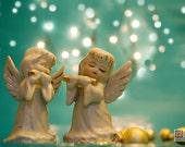 Christmas photograph, Holiday decor, Angels playing flute, Christmas carol, Christmas Angels, turquoise and gold, nursery decor
