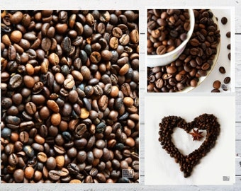Coffee heart, Food photography, Cup of coffee, Kitchen art, Coffee Beans, Café décor, Dining room décor, Coffee lovers gift, Set of 3 prints