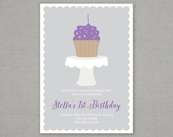 Cupcake Birthday Invitation // Cake Stand // First Birthday // One