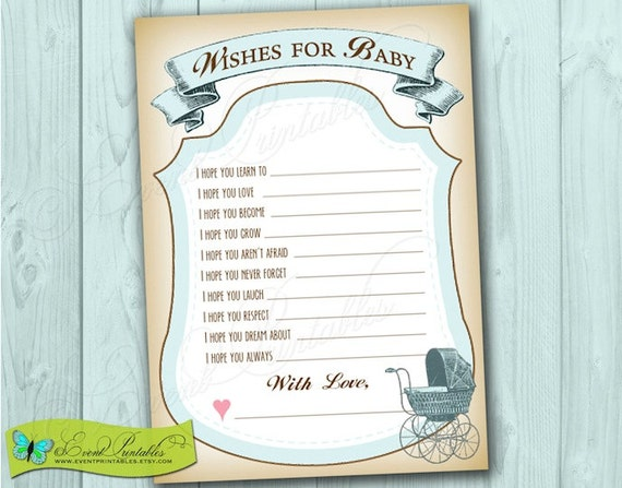 Baby Shower Mad Lib Wish Cards, Printable DIY Shower Game for Baby Boy, Vintage Blue Carriage, INSTANT DOWNLOAD by Event Printables