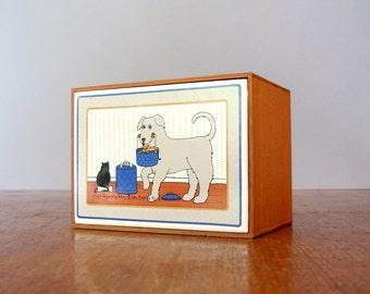 Vintage Taylor Ng Good Doggy Tile Wooden Box
