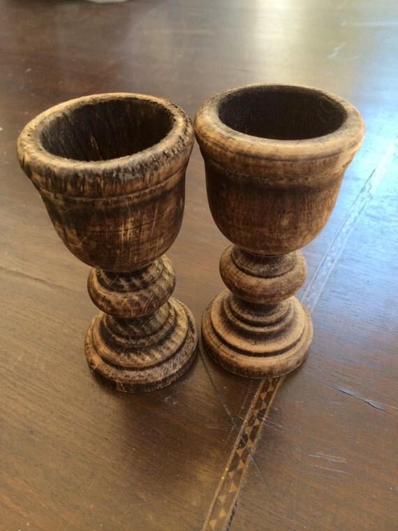 Pair of Vintage Distressed Wood Eggholders