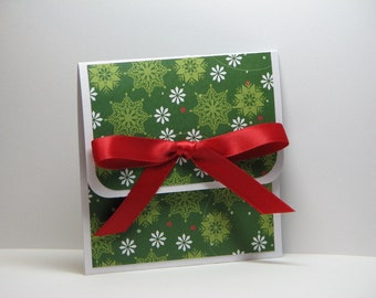 Snow on Snow Green Christmas Gift Card Holder