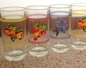6 Vintage Fruit Tumbler Glasses
