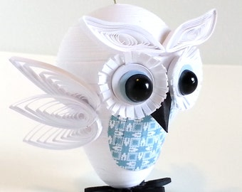 Owl Christmas Ornament Home Holiday Decor Paper Quilled in White and Light Blue - Customizable