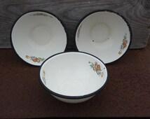 THREE Enamel Cereal Bowls by Cinsa, Hazel Decal Enamel Bowls Shabby Chic