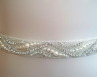 SALE - Wedding Belt, Bridal Belt, Sash Belt, Crystal Rhinestone & Off White Pearls