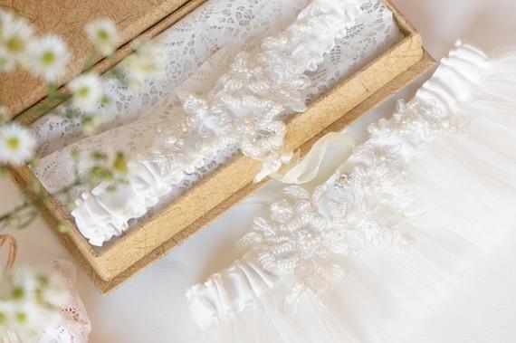 Royalty Alencon Lace Bridal Garter Set / wedding garter / lace garter / toss garter / vintage inspired lace garter - Ready to Ship