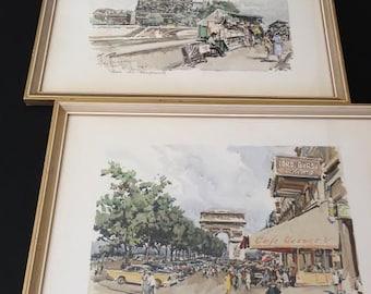 Vintage Mid Century Aldo Raimondi Signed Watercolor Paris Prints, Set of 2, Champs Elysees and Paris Les Bouquinistes