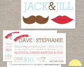 Jack & Jill Tickets - Mr and Mrs - 250 or 500 double sided tickets and digital poster by YellowBrickStudio