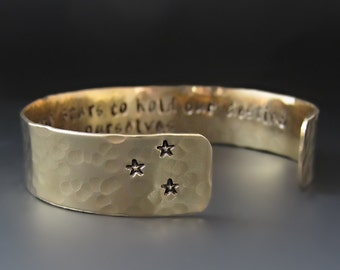 It Is Not In The Stars To Hold Our Destiny - Gold Brass, Copper OR Silver Cuff Bracelet