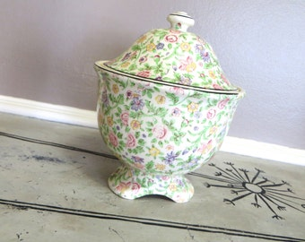 Chintz Porcelain Covered Candy Dish Covered Urn Mint Green and Pink Floral Canister