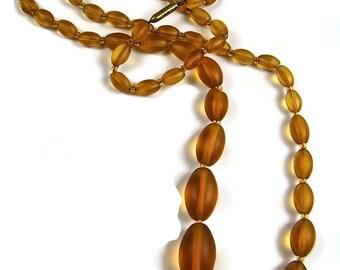 Unpolished Mid Century Amber Necklace