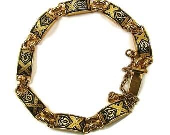 Vintage Black And Gold Damascene Bracelet